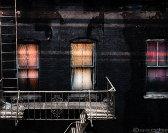 Three windows and ladder, Old building at Night, Photography Print, signed.