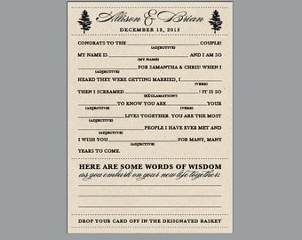 Wedding Mad Libs - Vintage Antique Nature Country Woodland Woods Tree Rustic Wedding Reception Favor Mad Libs Advice Cards