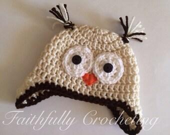 Newborn Owl Hat... Ready to Ship.. Photo prop