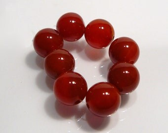 8 Beads.....Red Agate Smooth Round Gemstone Beads...8mm....BB