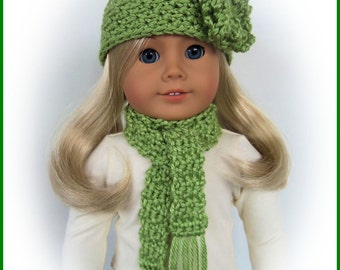Doll Clothes Made To Fit American Girl Doll, 2 Pc PISTACHIO Crochet Hat and Scarf, 18 Inch Handmade