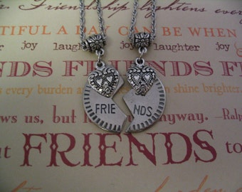 Best Friend Double Heart Necklace Set Sisters or Mother Daughter Friends Gift