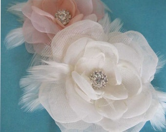 Blush, Ivory Organza Feather Rose Hair  Set E150 - feather bridal hair accessory