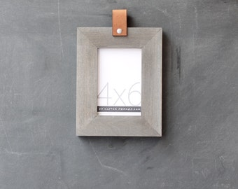 4x6 leather collection picture frame (driftwood gray) . 4x6 handmade picture frame