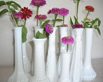 milky white vases - bakers dozen 13 milk glass vases - instant collection - wedding decor or garden flower centerpiece - shabby cottage chic