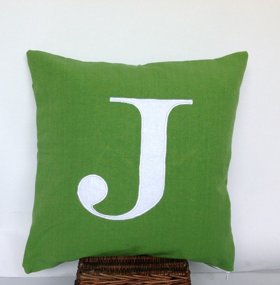 Lime Green Dorm Decor Monogrammed Pillows 16 inches Alphabet Pillow- letter cushions