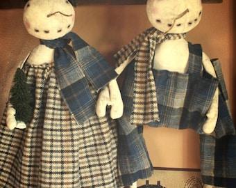 Primitive Snow Folk Couple Epattern