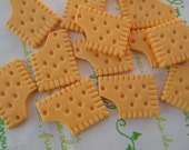 Yummy cookie biscuit cabochons 6pcs Rectangular shape 28mm x 20mm
