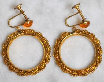Amber Glass Seed Bead Hoop Earrings