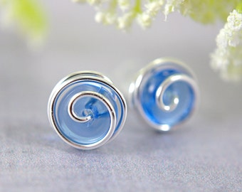 Cobalt blue glass post earrings rosebud spiral earrings stud earrings art glass sterling silver or 14k gold filled wire wrapped clear blue