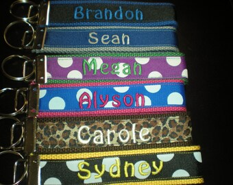 Personalized Monogrammed Key Fob Key Chain , Wristlet Design Your Own Nametag