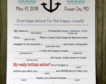 Wedding Mad Libs PDF FILE Print Yourself Anchor Nautical Colors are Customizable Includes Word Bank