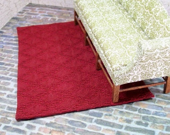 Diamond Maroon Rug Carpet Flooring 1:12 Dollhouse Miniatures Scale Artisan