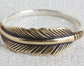 Mixed Metal (Sterling Silver and Oxidized Brass) Feather Ring