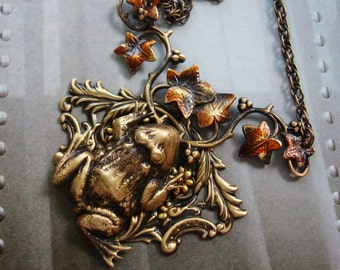 Fall Jewelry, Necklace, A Frogs Journey Into Fall, Autumn Color, Vines Of Ivy, Handmade, USA, Metal Bonded NOT Glued Together, Shipped Boxed