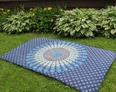 Blue and Brown Mandala Tapestry Picnic Blanket, Stake Down Design