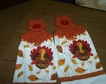 Turkeys Crocheted Hanging Kitchen Towels - set of 2 - Very cute and colorful - Thanksgiving
