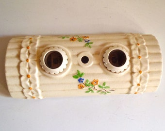 Antique 1920s Porcelier Two Socket Ceiling Light Fixture