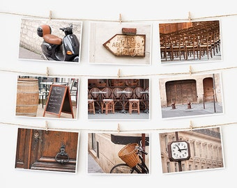 SALE! Paris Postcard Set, Brown Travel Postcards 4x6 Art Print, Affordable Art, Paris Decor Gallery Wall Set, College Student Dorm Decor