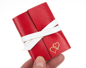 Valentine Leather Mini Journal with Gold Embossed Love Hearts: Hand Made Romantic Red Notebook Gift. Ships worldwide.