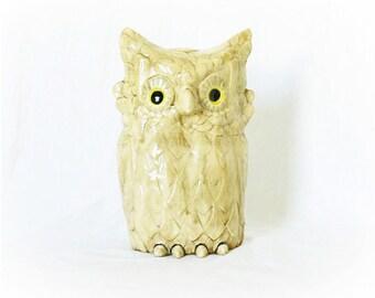 Vintage 70s Large Ceramic Owl Figurine Statue Tan Feathers Outdoor Garden Porch Art