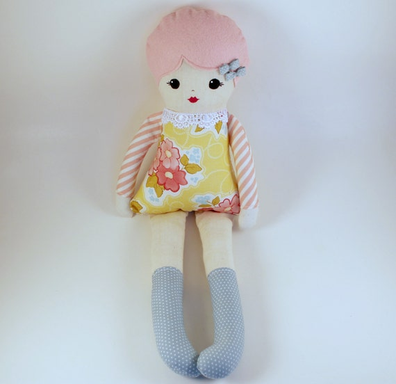 Handmade Cloth Rag Doll Pink Hair Yellow Floral Print Dress