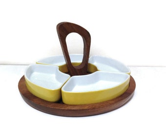 Vintage Teak Yellow Candy Dish