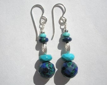 Natural Faceted Azurite and Blue Turquoise Gemstone and Sterling Silver Beaded Dangle Earrings with Sterling Silver Earwires