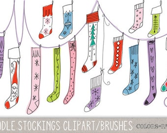 Digital Doodle Christmas Stockings Clipart.  Photoshop Brushes, Stamps. Instant Download. Digital Download.