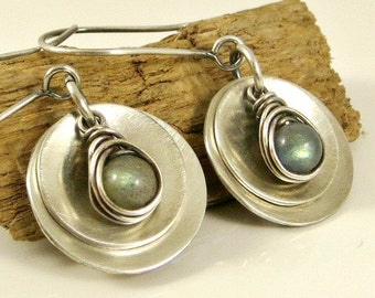 Labradorite Earrings, Silver Disc Earrings,  Sterling Silver Labradorite Jewelry Gifts for Her