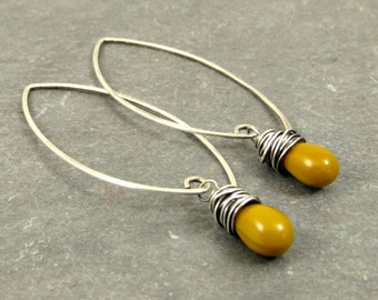 Earrings Mustard Yellow, Sterling Silver Drop Earrings, Eco Friendly Jewelry, Gifts for Her