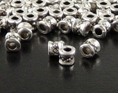 Bead Spacer 150 Antique Silver Barrels Tube Hourglass 3.8mm NF (1116spa03s1)