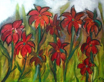 "Spring Glory, ORIGINAL Mixed Media Painting, 24"" x 18"" gallery canvas"