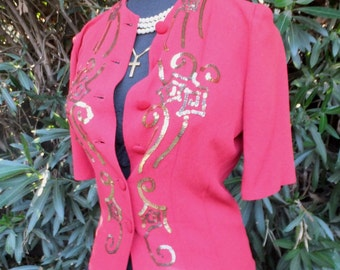 1940s Blouse, Red Sequined Blouse, Holiday Sparkle, Red and Gold, New Year's Eve
