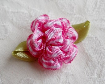 Dog Bow- Pink Gingham Blossom  Dog Bow