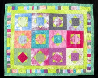Quench Not The Spirit - Quilted  Hand Dyed  Art Wall Hanging