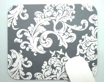 Buy 2 FREE SHIPPING Special!!   Mouse Pad, Computer Mouse Pad, Fabric Mousepad    White Damask on Gray