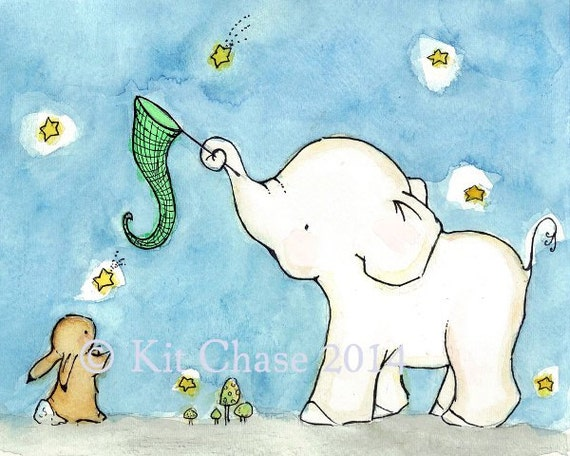 Children's Art -- Catch A Falling Star Elephant and Bunny -- Archival Print