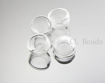 4pcs Clear Glass Cover - One Hole 15x12mm (375C)