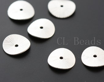 6pcs Matte Silver Plated Waved Disc - Spacer  11mm (1692C-T-99)