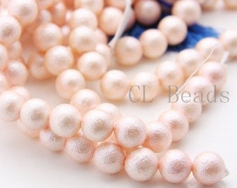 One Full Strand (16 Inches) Glass Pearl - Peach 10mm (226)
