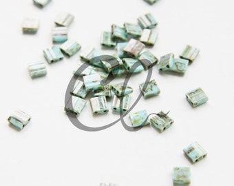 10 Grams Japanese Miyuki Tila Beads - Flat Square - Turquoise Brown Picasso Opaque 5x5x1.9mm (TL4514)