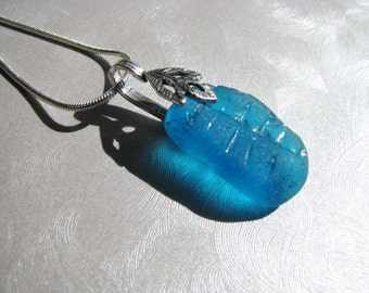 Showstopper Deep Aqua Sea Glass Necklace - Beach Glass Necklace - Beach Glass Jewelry