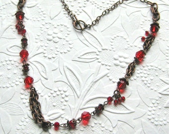 Red Crystals and Copper Necklace, Ruby Red and antiqued copper chain necklace. vintage style copper necklace