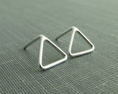 Sterling Silver Post Earrings - Open Triangle Studs - 6mm Small and Dainty - Simple Modern Minimal Earrings