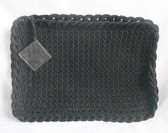 Clearance 1940's Vintage Black Knit Crochet Clutch Purse with Lucite Zipper Pull