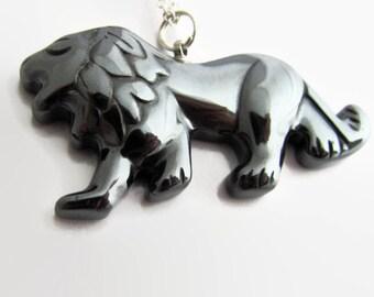 Lion Necklace, Hematite Jewelry, Carved Lion Pendant, Leo Necklace