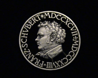 AMAZING - Franz Schubert - hand cut medallion - One-of-a-kind - SILVER - 1928
