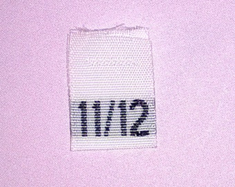 Size 11/12 (Eleven-Twelve) Woven Clothing Size Tags (Package of 50)