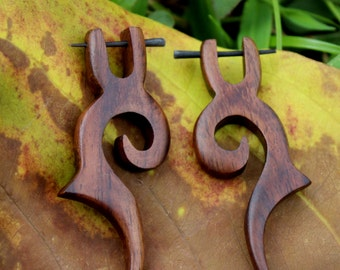 Fake Gauge Earrings,organic, Stick Wood Earrings,hand carved,naturally,tribal style,plugs,faux gage